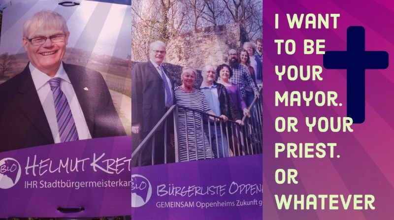 I want to be your mayor. Or your priest. Or whatever (hellish election posters part 666) 2