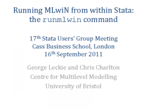 Running MLwiN from within Stata 1